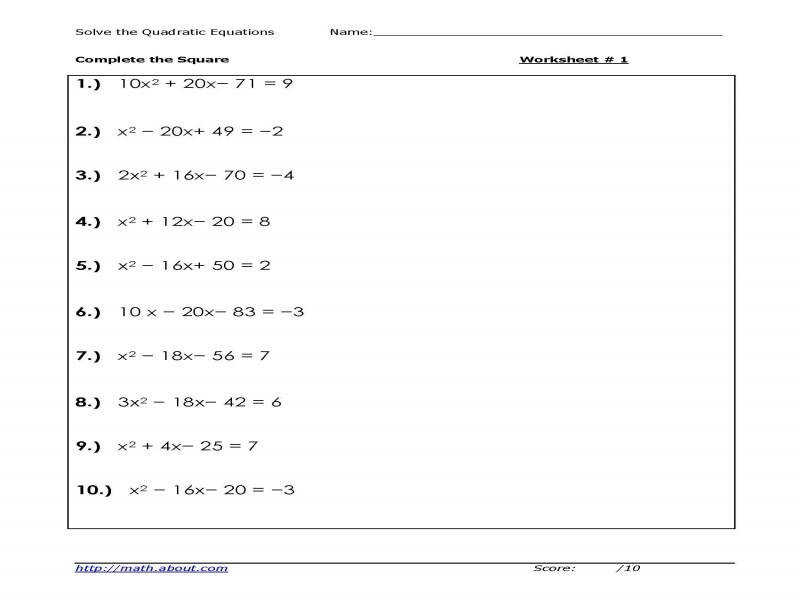 Solve Quadratic Equations peting The Square Worksheets