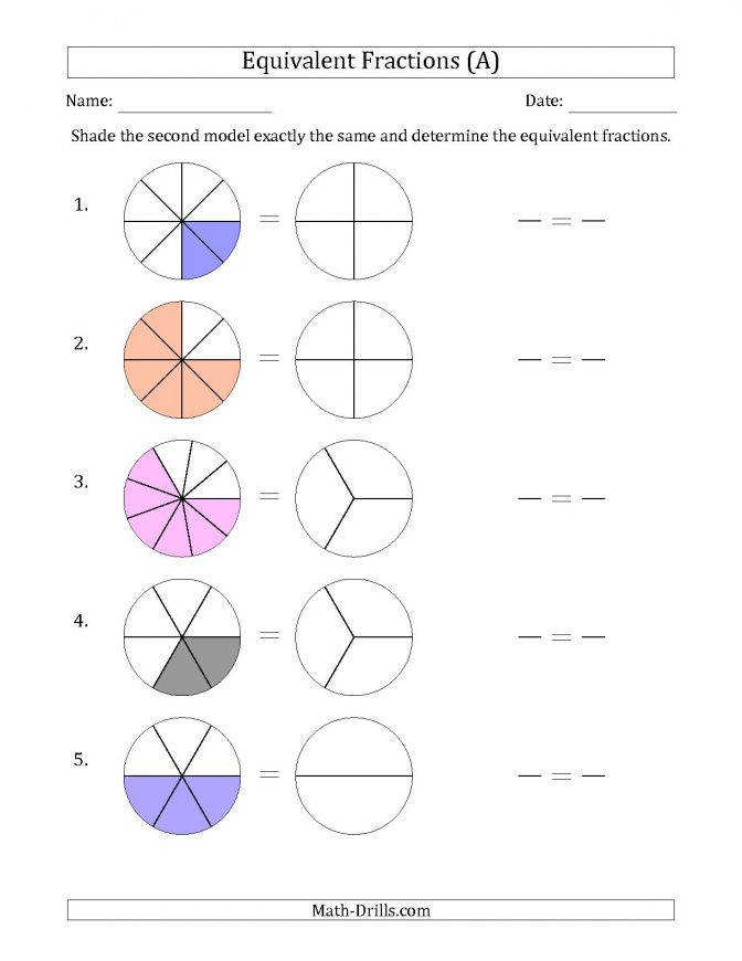 Equivalent Fractions Models With The Simplified Fraction Second A Fractions Equivalent Visual Models Simplified Second 00