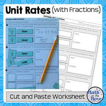 Unit Rates with plex Fractions Cut and Paste Worksheet