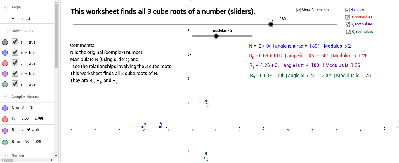 Experiment Manipulate N click and drag and see the relationships involving the 3 cube roots Uncheck the three boxes showing the values for the numbers