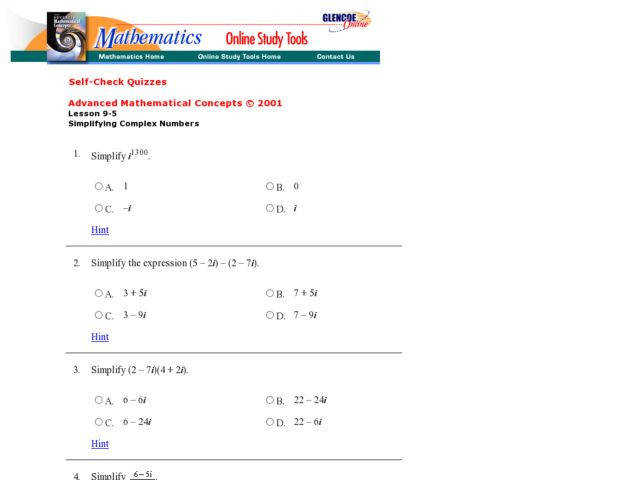 Glencoe Imaginary Numbers and Expressions 9th 12th Grade Worksheet
