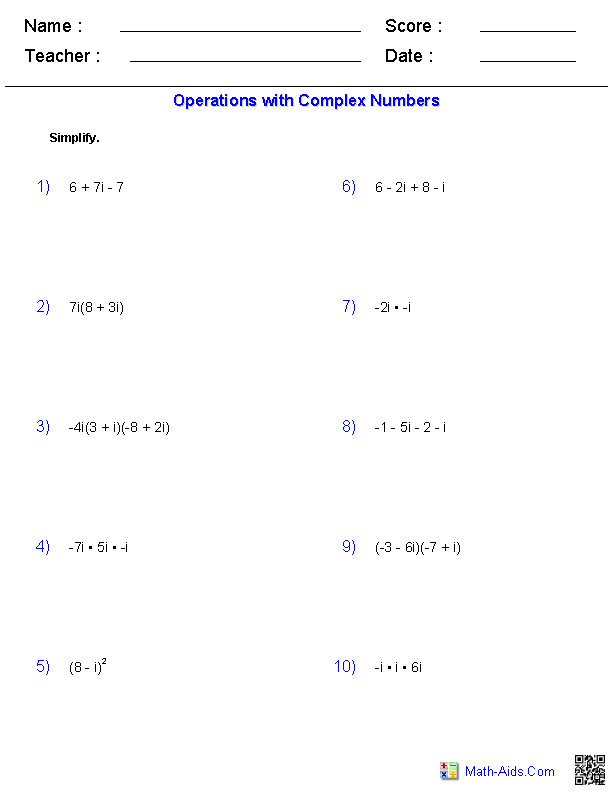 Complex Numbers Worksheet