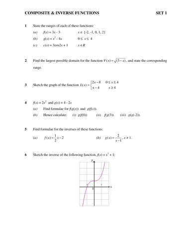 Inverse Functions Worksheet With Answers Width 500 Height Version See Enjoyable posite Function Chuckieirish Teaching