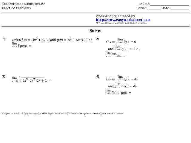 Finding the Limit of posite functions 9th 10th Grade Worksheet