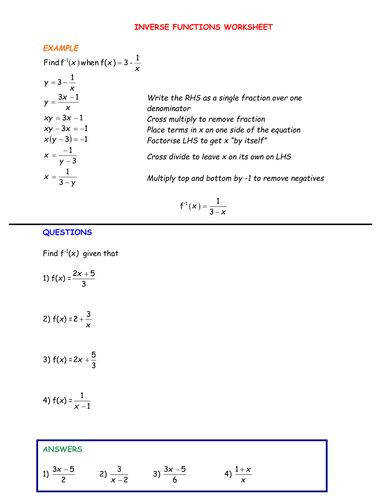 7.8 Skills Practice: Inverse Functions and Relations Worksheet ...
