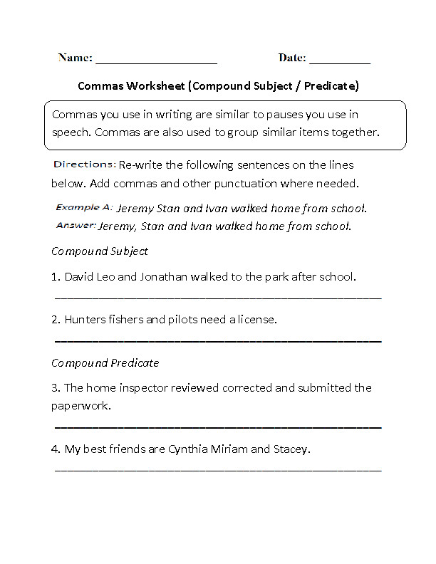 pound Subject and Predicate mas Worksheet · Examples pound Sentences plex