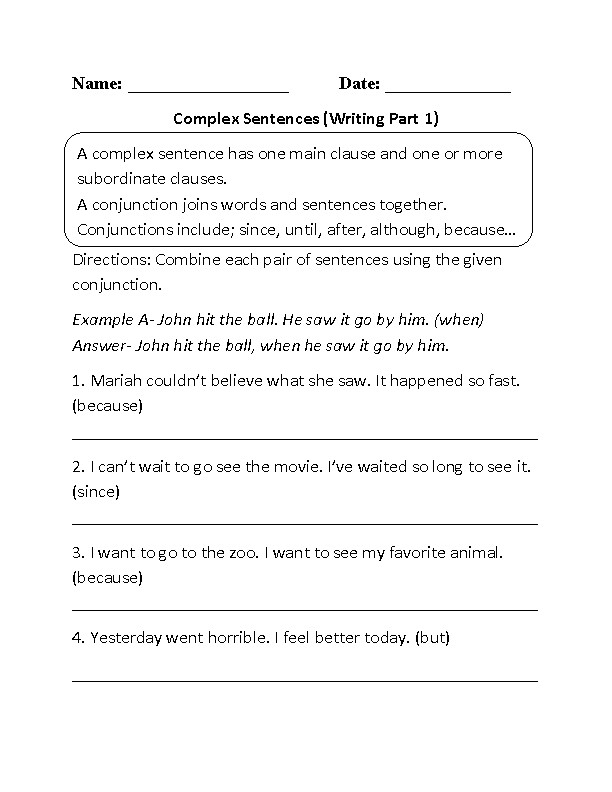Best Ideas of plex Sentence Worksheets For Cover Letter