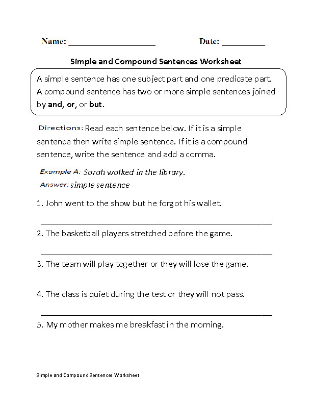 Simple and pound Sentences Worksheet