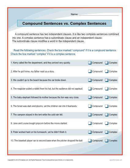 Compound Complex Sentences Worksheet