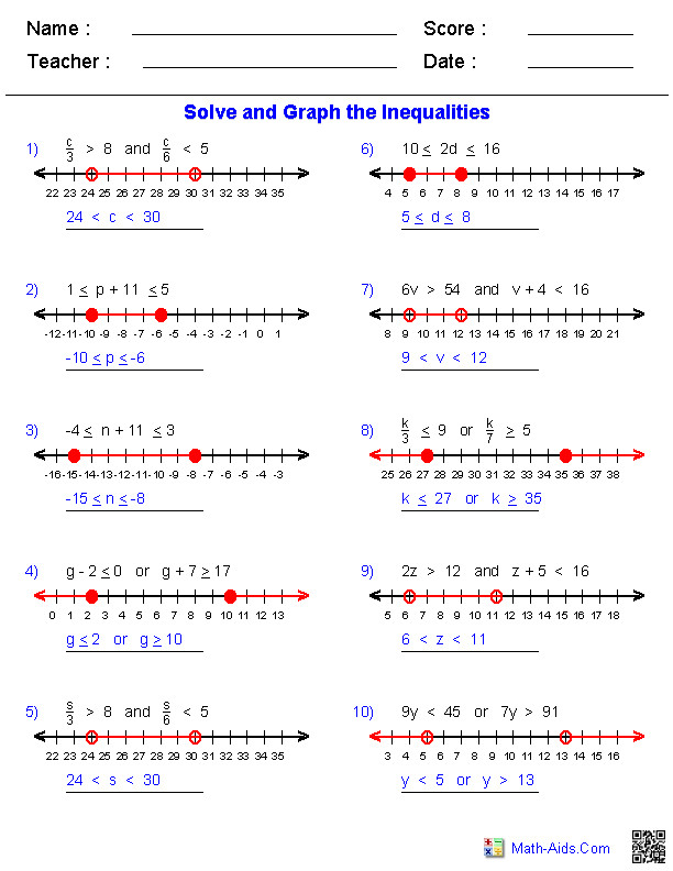 pound Inequalities Worksheets