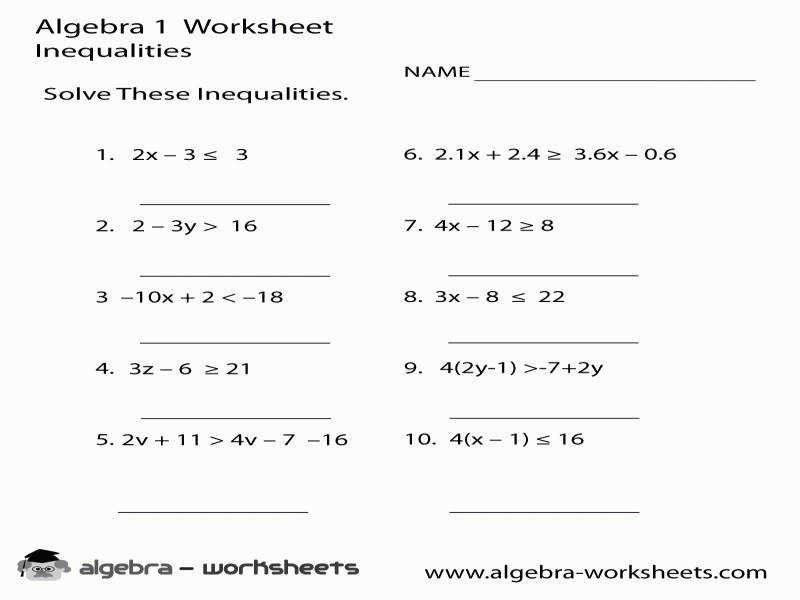 Two Variable Inequalities Worksheet Free Worksheets Library