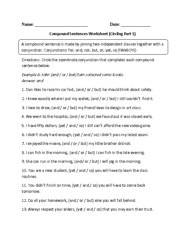 pound Sentences Worksheet