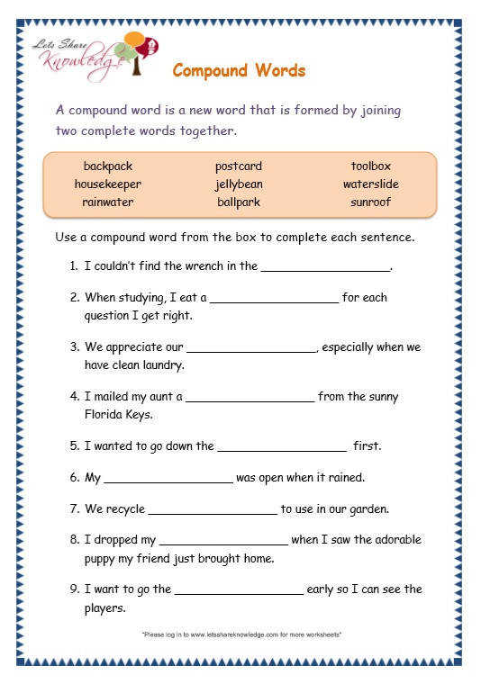Page 8 page 8 pound words worksheet