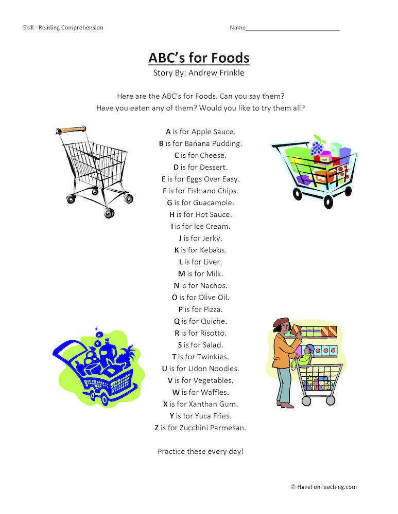 ABCs Alphabet for Food Reading prehension Worksheets