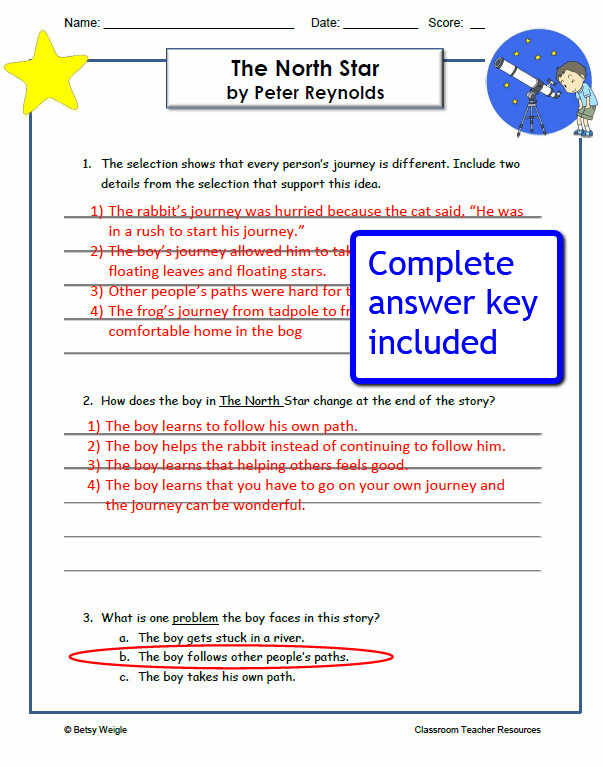 The North Star Reading prehension Worksheets Answer Key