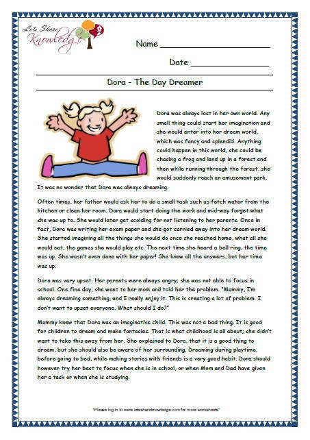 prehensions for Grade 3 Ages 7 – 9 Worksheets