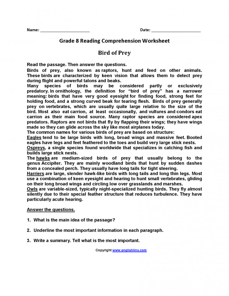 English Reading prehension Worksheets For Grade 3