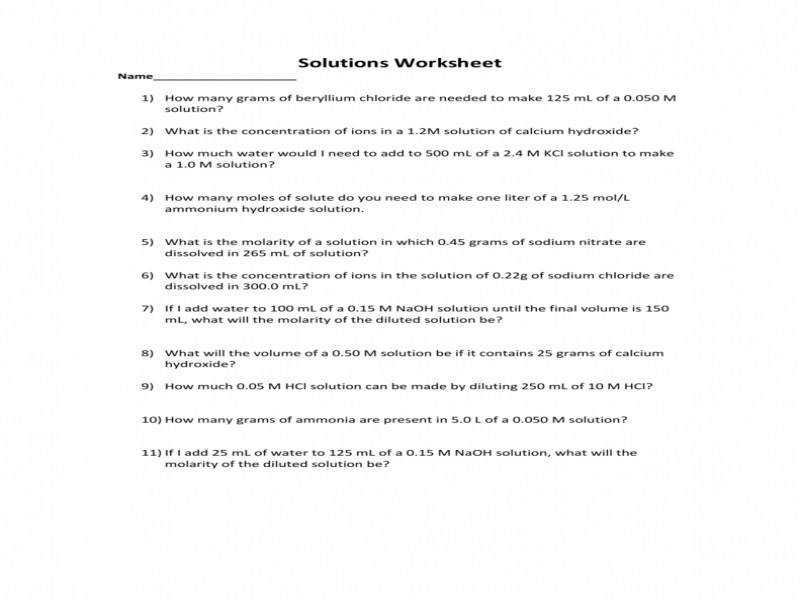 Concentration & Dilution Worksheet