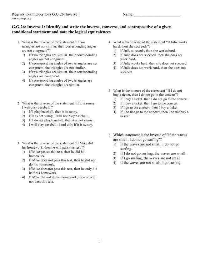 Worksheet Biconditional Statements and Good Definitions