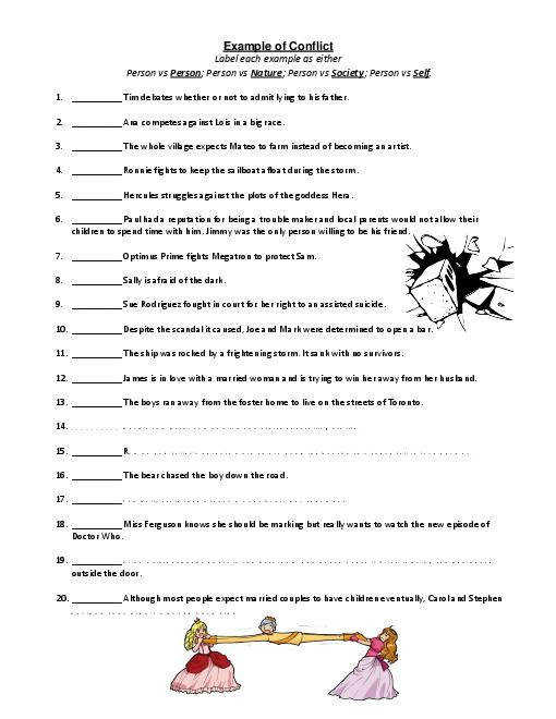 Types of Conflict Examples Worksheet
