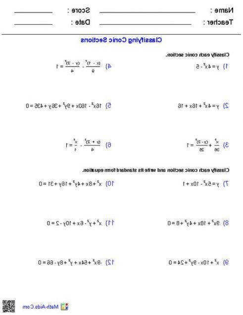 Conic Sections Worksheet Alphatravelvn