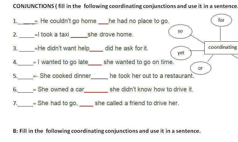 This is a worksheet that may help students in the class We did it as a seatwork after discussing conjunctions coordinating conjunction and subordinating