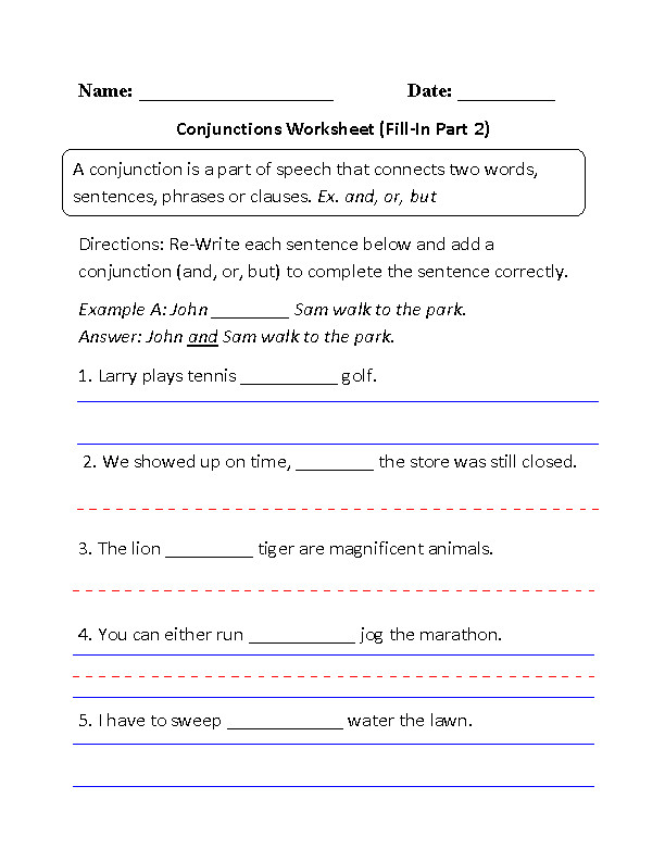 Conjunctions Worksheet Fill In
