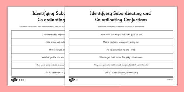 Identifying Subordinating Coordinating Conjunctions Connectives