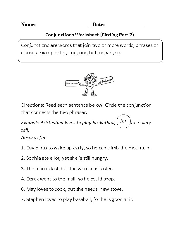 Circling Conjunctions Worksheet