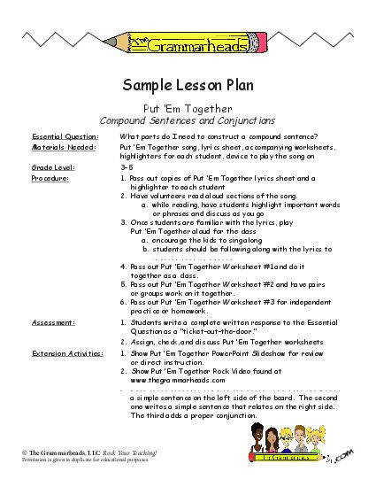 Conjunctions Worksheet Packet and Lesson Plan