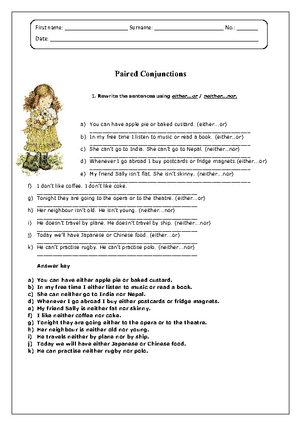 Paired Conjunctions Worksheet