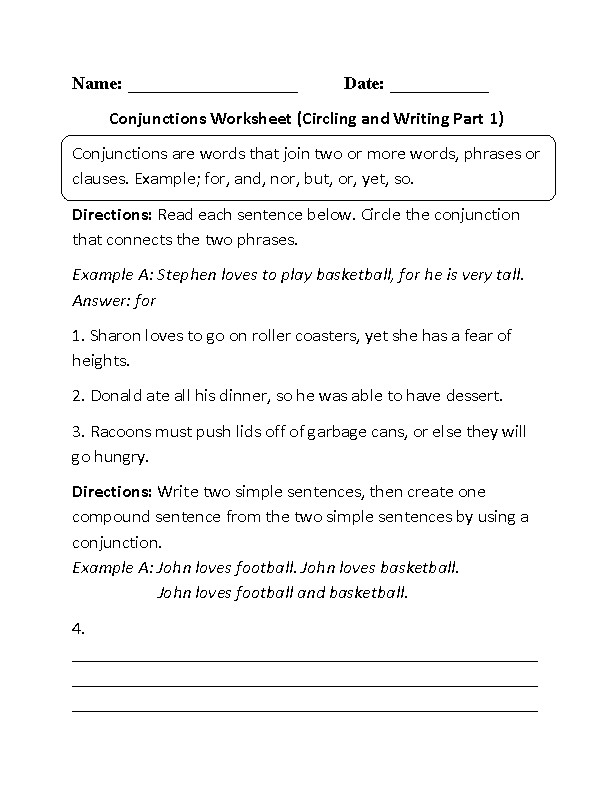 Conjunctions Worksheet Circling and Writing