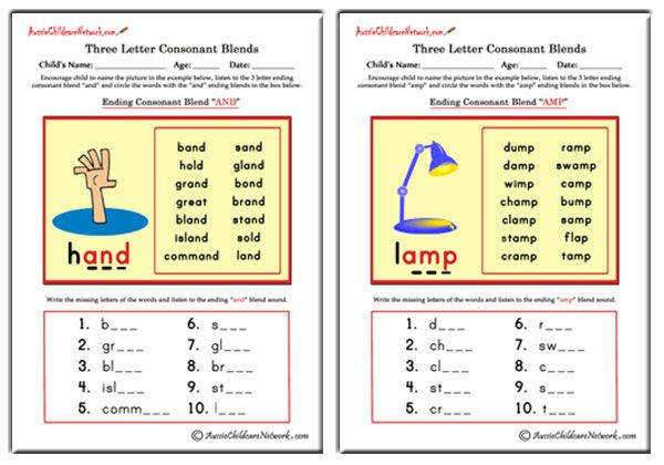 Three Letter Blends Ending Consonant Blends Aussie Childcare Network