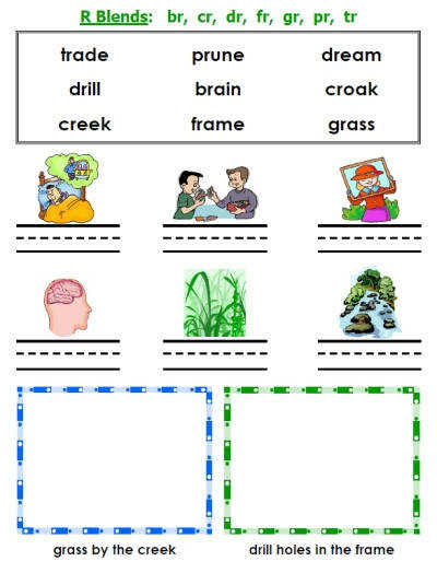 Sample pages from this packet — click to view larger printable consonant blends puzzle worksheet