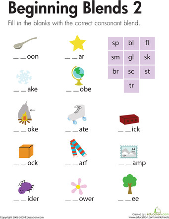Worksheets Beginning Blends 2