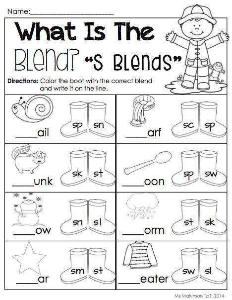 S blends Literacy WorksheetsConsonant