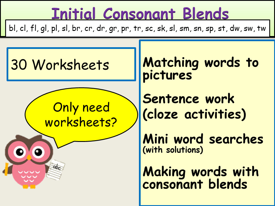 Phonics Initial Consonant Blends Worksheets by Ro Milli0110 Teaching Resources Tes
