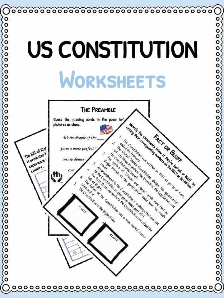 Download the US Constitution Facts & Worksheets