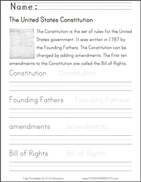 U S Constitution Informational Text Primary Source and Handwriting Spelling Worksheet for Primary