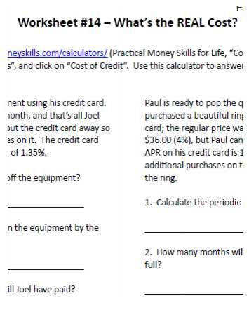 Financial Literacy Worksheet Sample