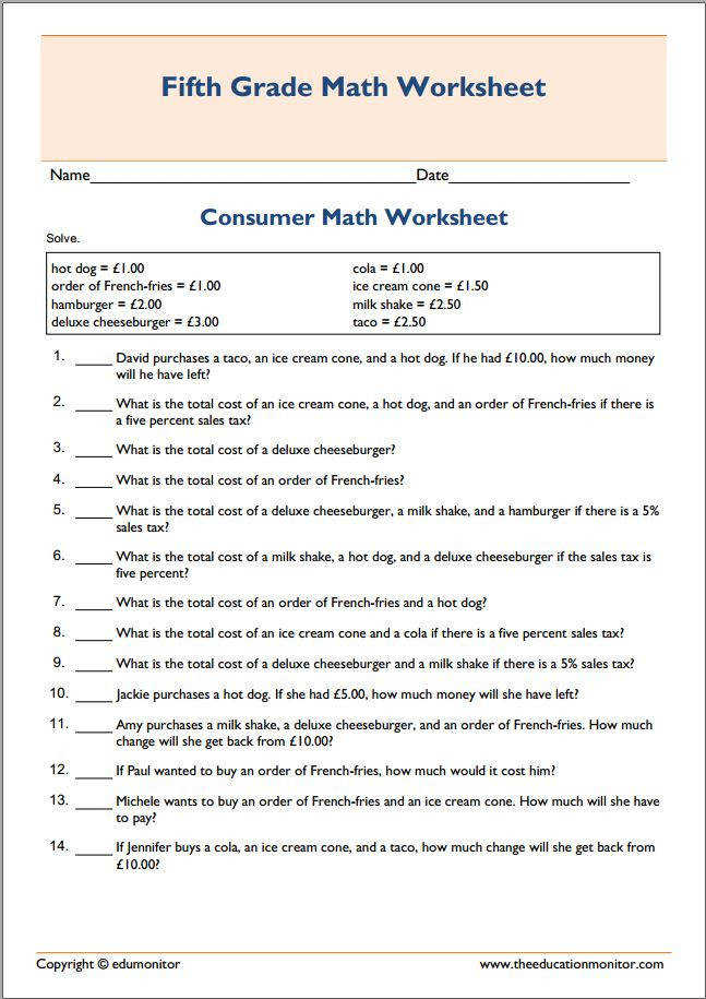 Basic printable consumer math worksheet