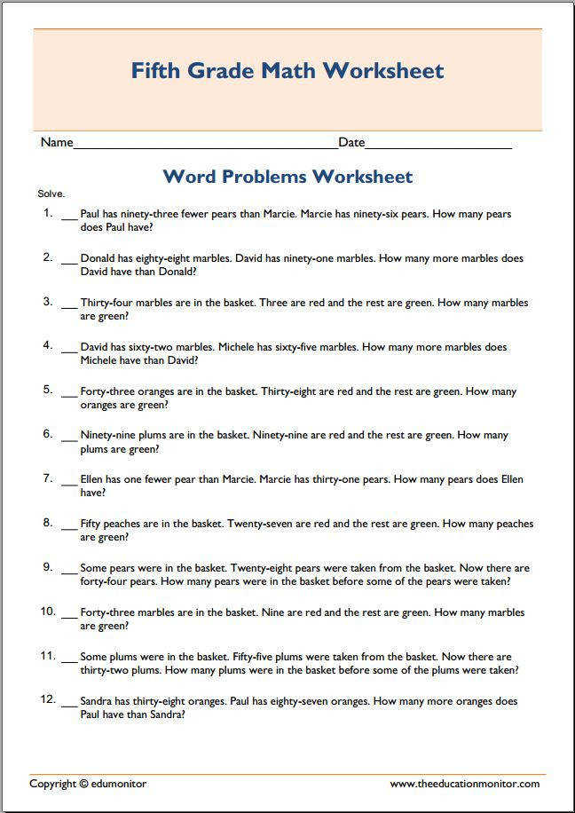 5th grade subtraction math word Worksheets