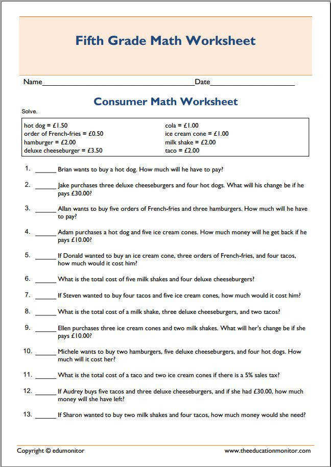 Spending money consumer math worksheet pdf Free spending money consumer math worksheet