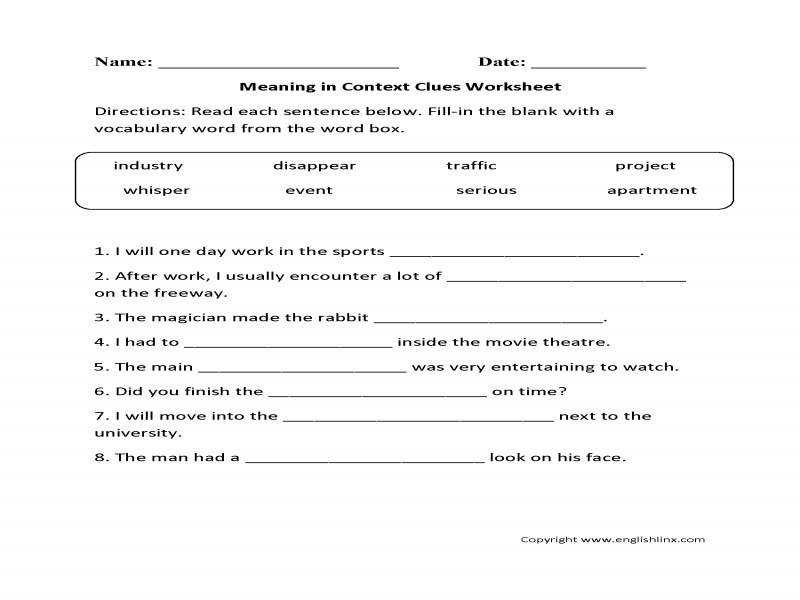 Multiple Choice Context Clues Worksheets & Teaching Context Clues
