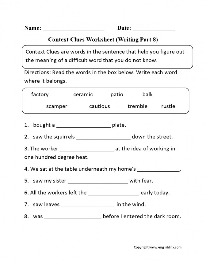 Context Clue Worksheets Homeschooldressage. Context Clues Worksheet Writing Part 8 Intermediate Education Worksheets Multiple Choice With Answers C41b192b5180a8ac7f2d5689a76. Worksheet. Vocabulary In Context Worksheet At Mspartners.co