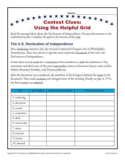 4th and 5th Grade Context Clues Worksheet Using a Helpful Grid
