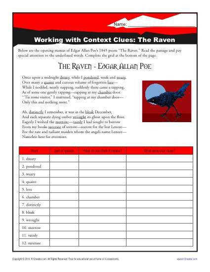 """Nevermore"" will you have to look for a middle school worksheet on context clues"