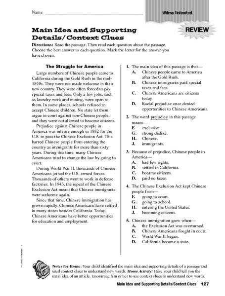 Main Idea Worksheets 4th Grade s Main Idea Worksheets 4th Grade Pics Supporting Details And Context
