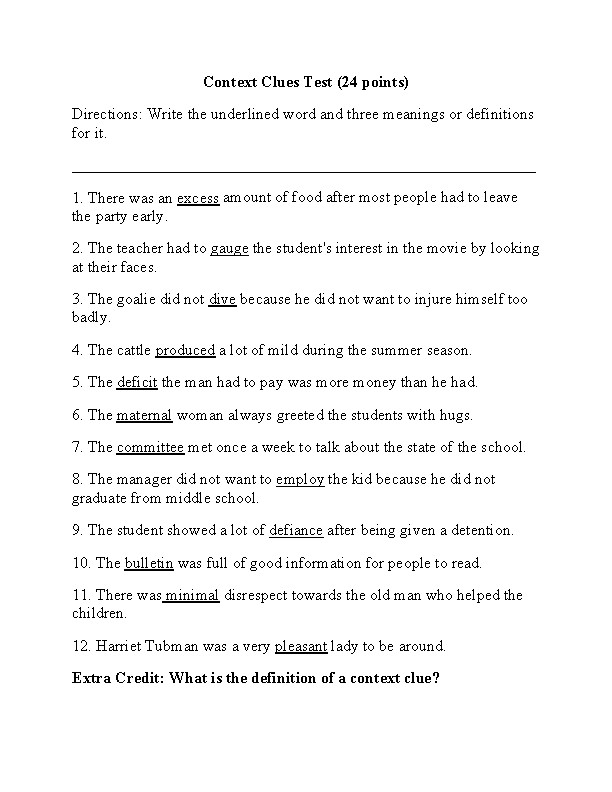 Ideas Collection Context Clues 8th Grade Worksheets Description