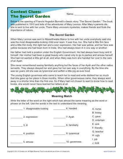 4th and 5th Grade Context Clues Worksheet The Secret Garden